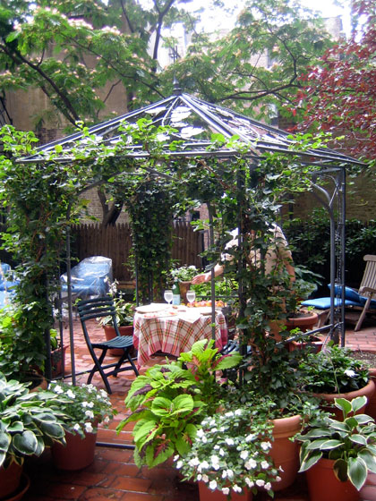 Carl's apartment is in a prewar off Seventh Avenue. He had a terrace that he's really made into an outdoor room, with this pergola and lots of plants. It feels like someone's backyard, but you're on a terrace, so it's wonderfully out of context.