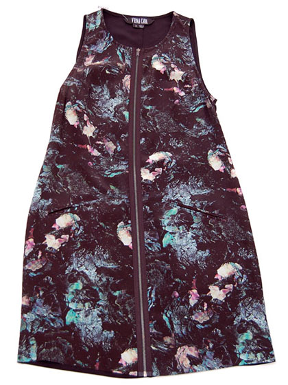 "Vena Cava obsidian-print zip-front dress, $450 at <a href=""http://nymag.com/listings/stores/bird03/"">Bird</a>."
