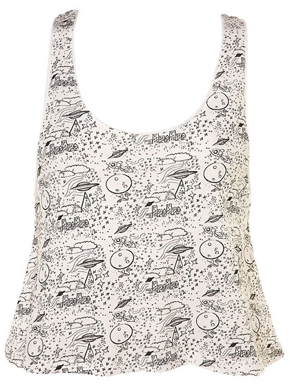 "Space Ship crop vest, $28 at <a  href=""http://nymag.com/listings/stores/topshop/"">Topshop</a>."