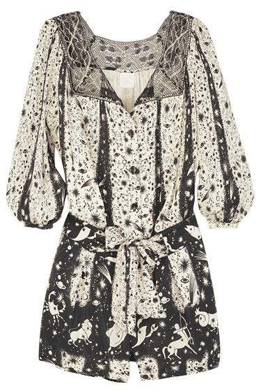 "Anna Sui constellation-print silk playsuit, $515 on <a href=""http://www.net-a-porter.com/Shop/Designers/Anna_Sui/All"">Net-a-Porter</a>."