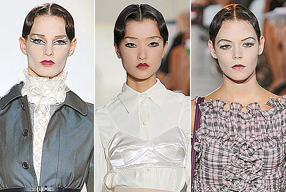 "A slick middle part was often used at the <a href=""http://nymag.com/fashion/fashionshows/2010/spring/main/newyork/womenrunway/marcjacobs/"">Marc Jacobs</a> runway."