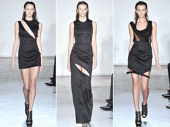 "The massive thigh and chest slits at <a href=""http://nymag.com/fashion/fashionshows/2010/spring/main/newyork/womenrunway/cushnieetochs/"">Cushnie et Ochs</a>. One wrong move and ..."