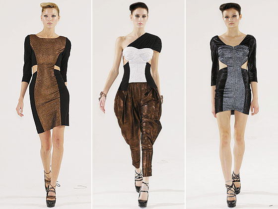 "More side slits at <a href=""http://nymag.com/fashion/fashionshows/2010/spring/main/newyork/womenrunway/franktell/"">Frank Tell</a>."