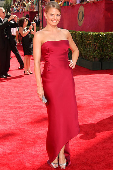Jennifer Morrison in a red Calvin Klein dress.