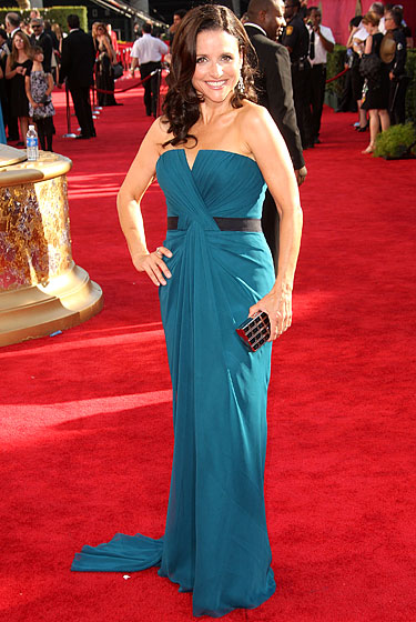 Julia Louis-Dreyfus in dress by Vera Wang, with Jimmy Choo shoes and a Judith Leiber clutch.