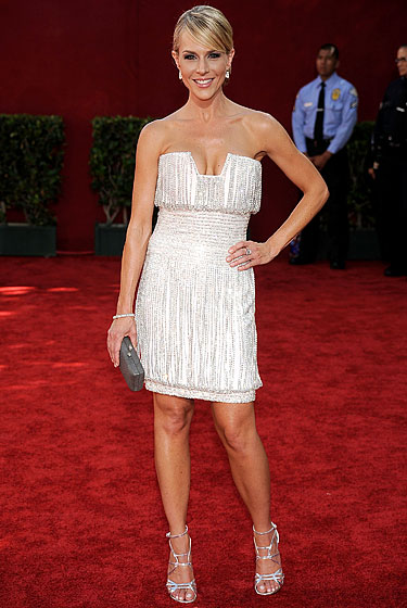 Julie Benz in Georges Chakra with Jimmy Choo shoes.