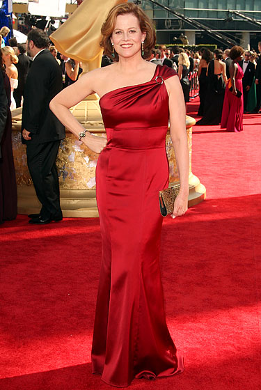 Sigourney Weaver in David Meister gown and a vintage bronze crystal Swarovski.