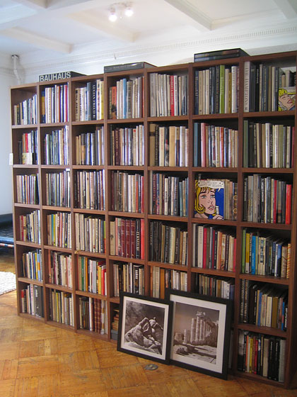 "I heard that Birch Cooper had acquired most of the design library of the legendary Albert Hadley. Birch lives and works in his studio; he's a private dealer, so you have to <a href=""http://birchbooks.com"">make an appointment</a>. Here are the shelves of Mr. Hadley's books."