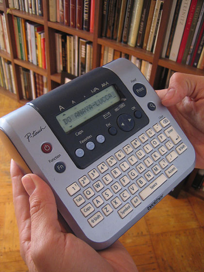 "I asked Birch how he keeps everything so orderly in his tiny space; he said ""a label-maker."" Here it is."