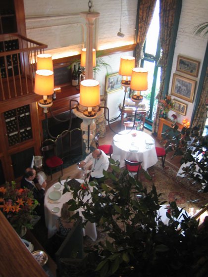 "Here is the exquisite, magical oasis that is the restaurant <a href=""http://nymag.com/listings/restaurant/la-grenouille/index.html"">La Grenouille</a>, at 3 East 52nd Street. We're looking from the upper balcony down to the private dining room, which is now open Tuesdays through Fridays for lunch. Men don't need to wear jackets (a first!), and a delicious three-course lunch is $29."