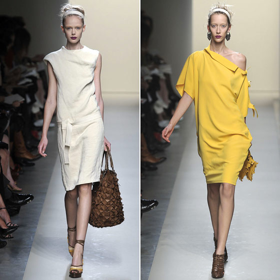 "<a href=""http://nymag.com/fashion/fashionshows/2010/spring/main/europe/womenrunway/bottegaveneta/"">Bottega's</a> take on the Japanese-inspired spring dress."
