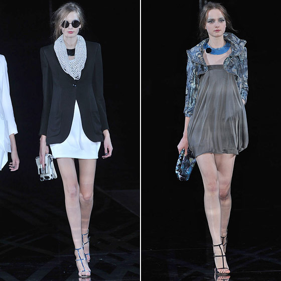 "Sassy minidresses get tempered with jackets at <a href=""http://nymag.com/fashion/fashionshows/2010/spring/main/europe/womenrunway/emporioarmani/"">Emporio Armani</a>."
