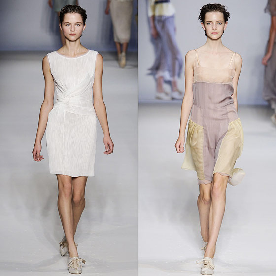 "Lingerie-inspired, feminine looks at <a href=""http://nymag.com/fashion/fashionshows/2010/spring/main/europe/womenrunway/albertaferretti/"">Ferretti</a> used color-blocking and twists to stay new and fresh."