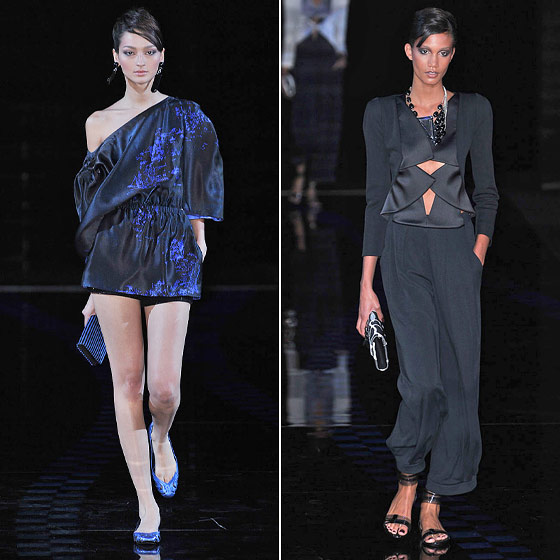 "<a href=""http://nymag.com/fashion/fashionshows/designers/bios/giorgioarmani/"">Giorgio Armani</a> takes on the eighties trends as only he can: slouchy tops, elastic waists, strong shoulders, and baggy trousers, yet all still elegant."