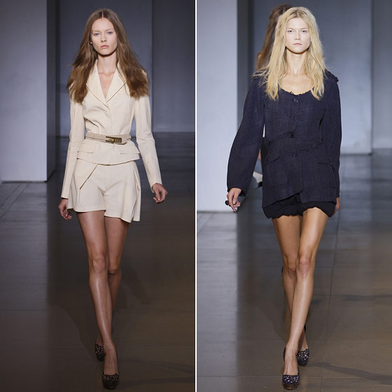 "Shorts are the new pants this spring, and frayed edges soften up suit jackets and tops at <a href=""http://nymag.com/fashion/fashionshows/2010/spring/main/europe/womenrunway/jilsander/"">Jil Sander</a>."