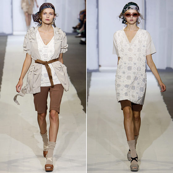 "<a href=""http://nymag.com/fashion/fashionshows/2010/spring/main/europe/womenrunway/marni/"">Marni</a> layered up for spring with gypsy head wraps, tunics, belted cardigans, and yes, socks with sandals."