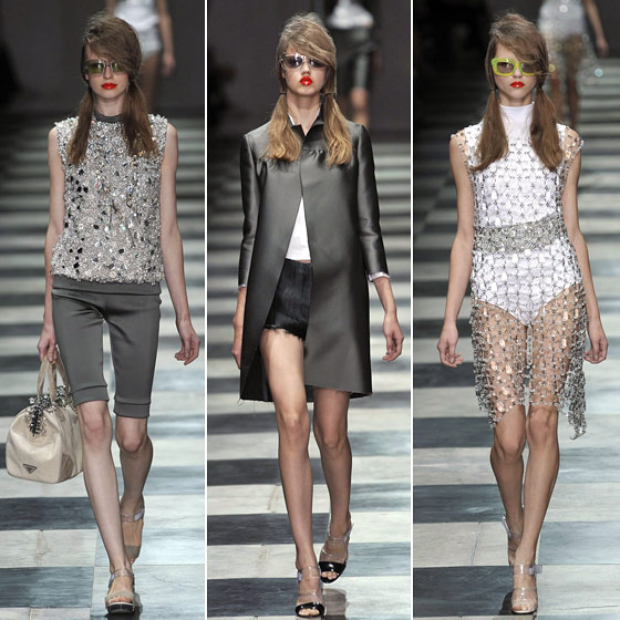 "The sixties are back courtesy of Miuccia <a href=""http://nymag.com/fashion/fashionshows/2010/spring/main/europe/womenrunway/prada/"">Prada</a>. Think mod, think sexy, think Lucite crystals on everything."