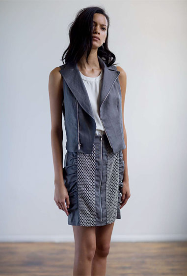 Linen motorcycle vest with linen skirt with net insets.