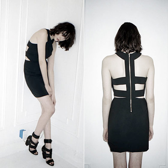 Wool gabardine cutout-back dress, $425 at Dossier.