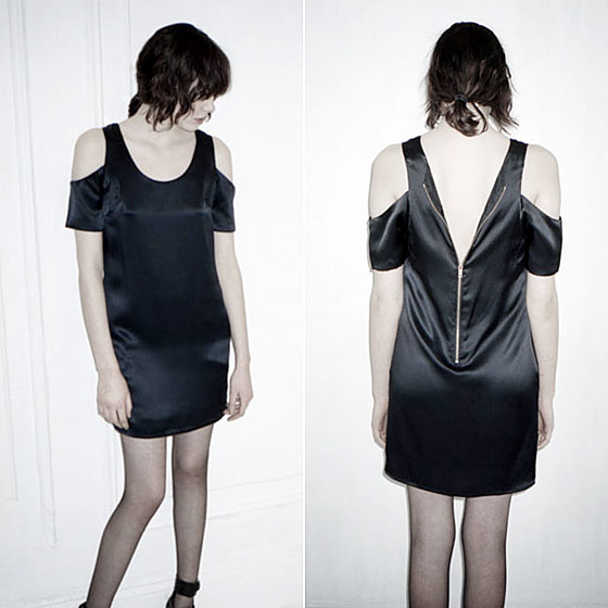 Cutout-shoulder silk shift, $325 at In God We Trust.