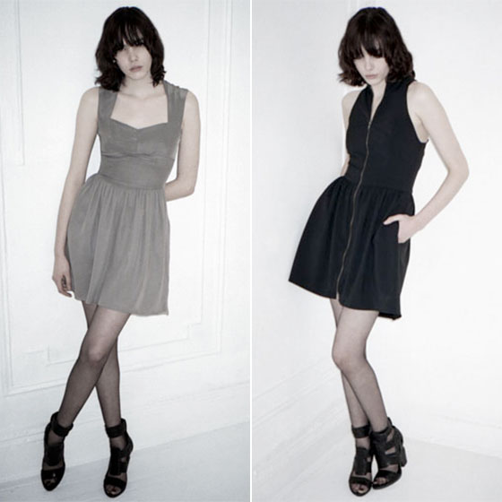 From left: Silk ballerina dress with chiffon skirt, $475 at Honey in the Rough; zip-front wool gabardine tunic with gathered skirt, $310 at francesmay.net.