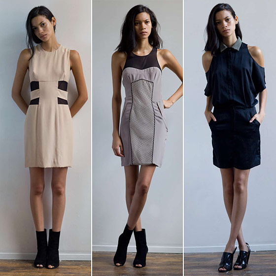 From left: Silk cage dress with side mesh inserts; fitted silk dress with center net detail; silk shirtdress with cutout shoulder.