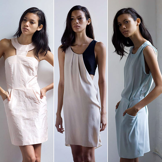 Silk taffeta structured dress; silk duo-tone toga dress; silk tunic with back net inset.