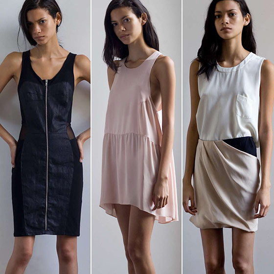 From left: Resin-coated linen dress with mesh insets; silk georgette swing dress; silk cutoff pocket T-shirt with draped silk overlay skirt.