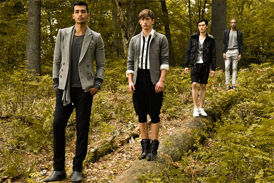 On Matsen: Captain Leisure Jacket in Herringbone Grail, $259; Lex Shirt in Slate, $68. On Austin Pierce: Augustene Blazer in Slate, $138; Amzy Shirt in Bone, $136; Troy Lounge Short in Slate, $114. On Danny: Jayson Bomber Jacket in Black, $298. On Jason: Origami Bomber Jacket in Black, $148; Vassar V-Neck in Grey, $88.