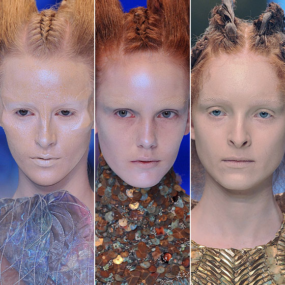 "<a href=""http://nymag.com/fashion/fashionshows/2010/spring/main/europe/womenrunway/alexandermcqueen/"">Alexander McQueen</a> covered up arches by applying prosthetics to faces for the alien look."