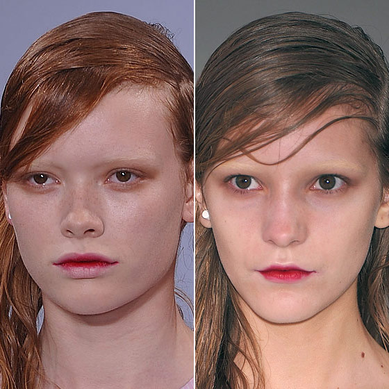 "The beauty at <a href=""http://nymag.com/fashion/fashionshows/2010/spring/main/europe/womenrunway/jonathansaunders/"">Jonathan Saunders</a> was inspired by vampires, from the wet hair to all-flesh temples."