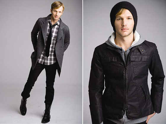 Left: double-breasted cardigan, $265; slim plaid shirt, $176; skinny pants, $182. Right: carbon-coated motor jacket, $352.