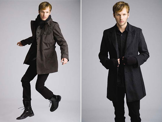 Left: plaid trench, $385; skinny pants, $182. Right: reverse-seam wool coat, $418.