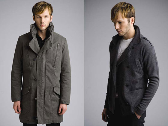 Left: expedition overcoat, $478. Right: commander cardigan, $265.