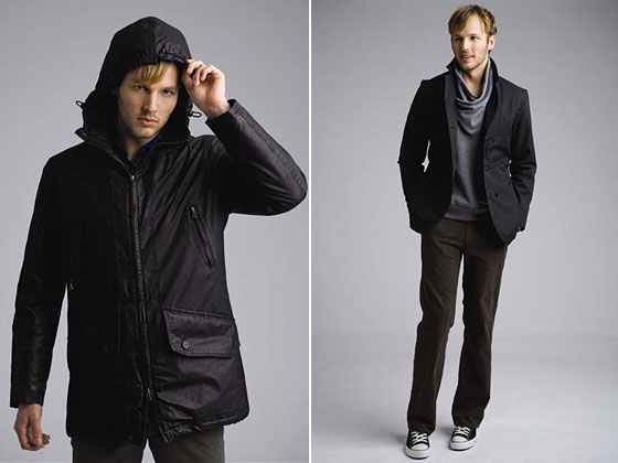 Left: carbon-coated parka, $460. Right: double-breasted rain jacket, $364; Lars pullover, $209; plaid trousers, $207.