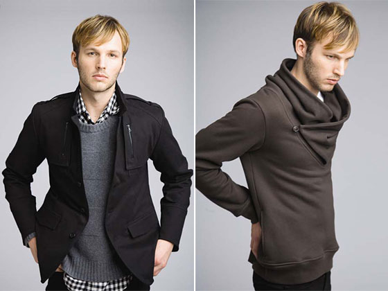 Left: militia jacket, $345; square-pattern crewneck in cashmere, $330; Wurzel shirt, $185. Right: Lars pullover, $209.