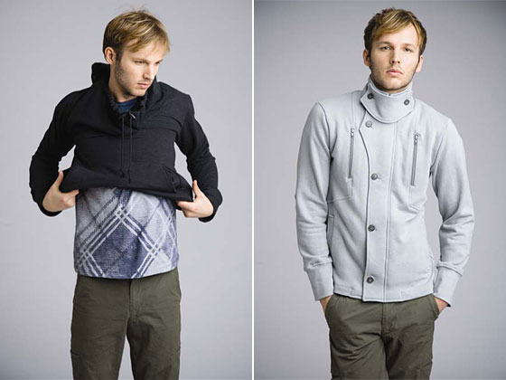 Left: Undercover pullover, $176; plaid tee, $58. Right: arena jacket, $238; city trouser, $184.