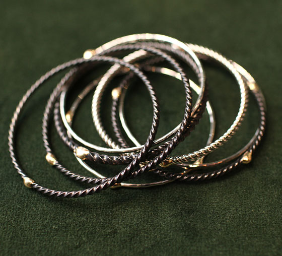 Philip Crangi Stack of Mixed Steel and Gold Bangles, $360 to $10,925.