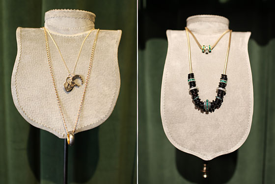 Left: Philip Crangi Love, Luck and Hope Necklace, $1,380, and Philip Crangi Steel and Gold Ring Necklace, $4,543. Right: Giles & Brother Claudette Trio Necklace, $120, and Claudette Choker, $720.