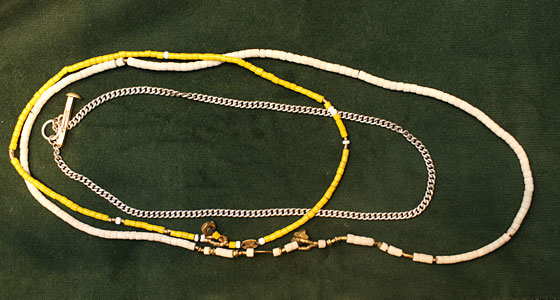Giles & Brother Men's Beaded Necklaces, $63 to $255, and Giles & Brother Sterling Silver and Brass Toggle Chain Necklace, $350.