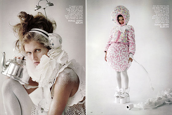 "In a <em>Project Runway</em>–style challenge, British <em>Vogue</em> asked designers to create outfits from ""objets domestiques."" These looks are by Shona Heath, and the toilet-paper-roll shoes on the right are absolutely genius."