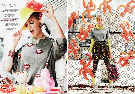 "This spread is titled ""Clothes That Pop,"" hence the balloon animals. But there is a big difference between making clothes pop and making them fizzle, which is all these Goodwill sneakers and balloon animals do."