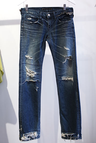 Washborn distressed jeans with stripe cloth trim from Korea, $149.
