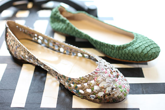 All Black ballet flats in green and newspaper from Korea, $149 per pair.