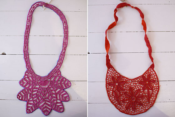 Fabrica Social woven bib necklaces from Mexico, $69 each.