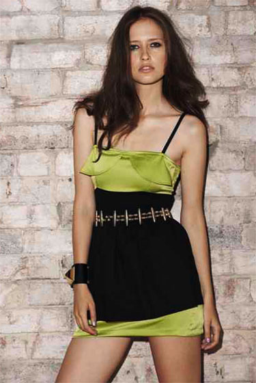 Silk dress with built-in bra, $189.20.