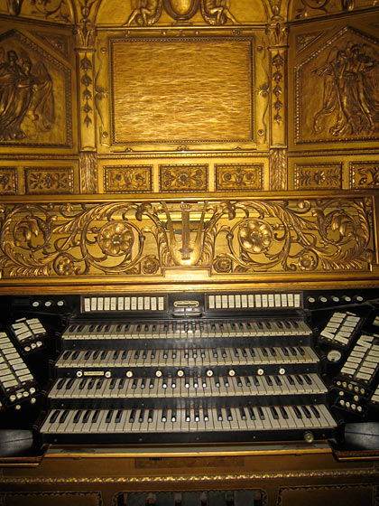 The splendid organ. Mr. Frick loved organ music so much that the organist had a room in the mansion so he could be on call.