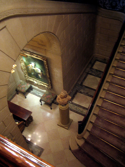 I have so often dreamed of climbing the stairs to see what the Frick family would have seen, beyond the public rooms; during this visit, I had my chance. This view is looking down from the upstairs landing. You can glimpse the organ at the bottom left.