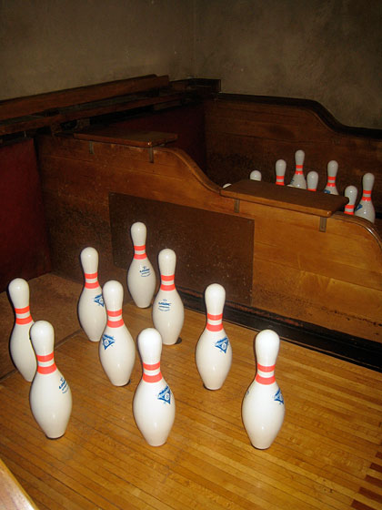 Henry Clay Frick built the bowling alley for entertaining. Here you can see the seats where servants perched during games, waiting to retrieve the balls after  guests had rolled them down the alley.