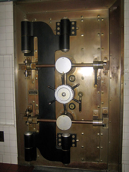 This safe, also in the basement, is where the family's sterling silver (candelabras, serving pieces, and so forth) was kept.